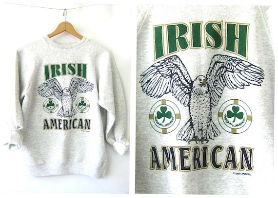 Heather Gray Sweatshirt 90s IRISH American Vintage Pullover DES Sweatshirt Crewneck Top Athletic Sporty Unisex Size Large