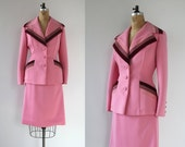 ON SALE vintage 1970s skirt suit / 70s Lilli Ann suit / 70s pink ultra suede suit / 70s designer suit / 70s Lilli Ann blazer / medium 28 inc