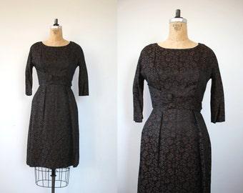 vintage 1950s dress / 50s black brown leslie fay dress / 50s floral brocade dress / 50s wiggle dress / 50s party dress / medium