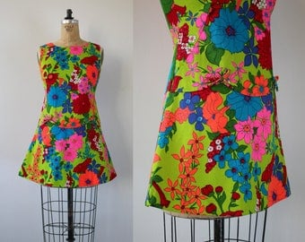 vintage 1960s dress / 60s hawaiian dress / 60s neon floral print dress / 60s drop waist dress / 60s cotton dress / mini dress / S M