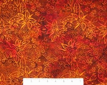Bali Batik Fabric - Tropical Flower Orange - Princess Mirah Quilt Cotton YARD