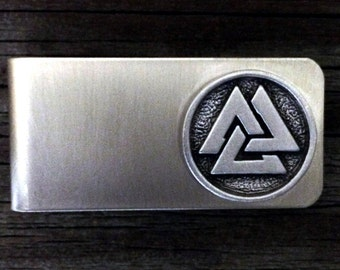 Viking Valknut Money Clip | Groomsmen Gift | Groom Gift | Gift For Him | Fathers Day Gift | Handcrafted | by Treasure Cast Pewter