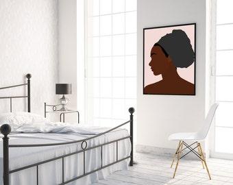 "Modern, Minimal Portrait ""LoLo"" by Jules Tillman - Fine Art Lustre Print minimal woman abstract portraiture African American pink grey black"