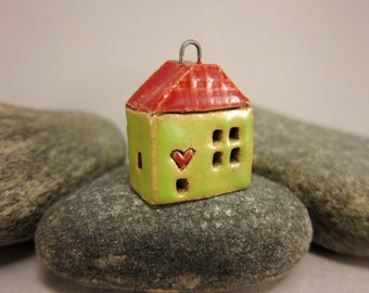 Love Lives Here...Ceramic Cottage Pendant...Lime Green