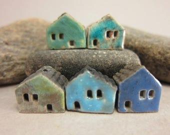 5 Raku House Beads...Matte Blue Lagune Copper Turquoise Blue Dark Blue