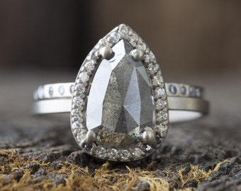 One of a Kind Rose Cut Salt + Pepper Diamond Ring with Pavé Halo