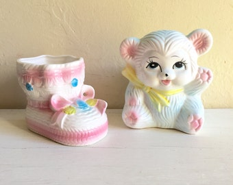 Very Cute Vintage Baby Vases Pink and Blue Pastel Bootie and Teddy Bear