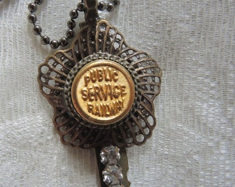 Button And Key Assemblage Necklace - Public Service Railroad