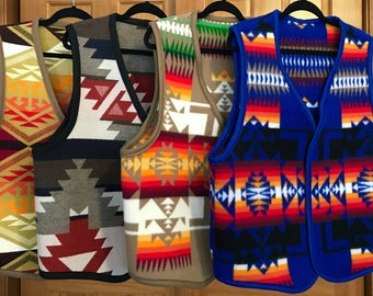 Mens Reversible Blanket Vest Wool Made to Order Southwestern Tribal Handcrafted Using Fabric from Pendleton Woolen Mill