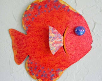 Metal Wall Art Fish Sculpture Recycled Metal Beach House Coastal Bathroom Decor Red Orange 7 x 7