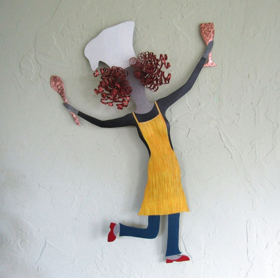 Kitchen Metal Wall Decor: Kitchen Wall Art Lady Chef Sculpture Recycled Metal Wall Art