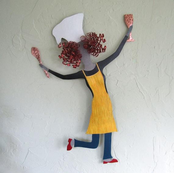 Kitchen Metal Wall Art: Kitchen Wall Art Lady Chef Sculpture Recycled Metal Wall Art