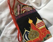 Vintage Russian Souvenir Shoulder Strap Purse Embroidered