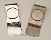 2 Stainless Steel Money Clips with 18mm Bezel Area with 2 18mm Glass Cabs