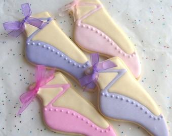 Ballet Slipper Cookie Favors - Ballet Decorated Cookies - Ballerina Cookies - 1 Dozen