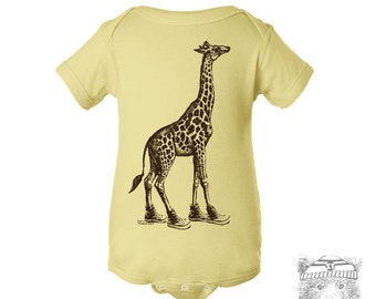 Baby One-Piece GIRAFFE (in High Tops) Eco screen printed (+ Color Options) - FREE Shipping