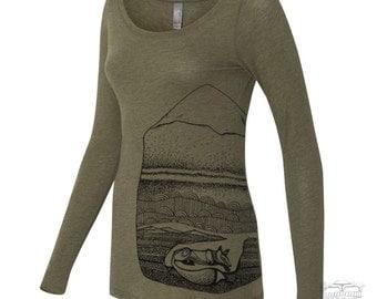 Womens FOX Long Sleeve Scoop Neck Tri Blend t shirt [+Colors] S M L XL XXL