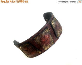 """40% OFF SALE Copper elegant leather bracelet Wide cuff Wristband Leather jewelry Wristband """"Geometry of Metamorphose"""" collection"""