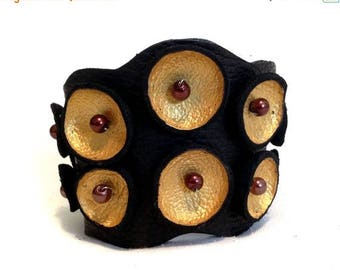 40% OFF SALE Stylish Leather bracelet. Gold and black color rock leather cuff. Leather jewelry