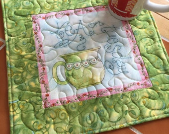 Tea on Tuesday - teapot - Mug Rug or Candle Mat  Oversized Coaster / green / gift for her / floral / pink / quilted / office decor / gift