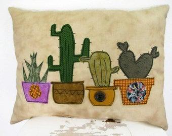 Cactus and Succulent Pillow, Accent Pillow, Throw Pillow, Southwestern Decor, Free-Motion, Plant Pillow, Appliquéd Cacti Pillow