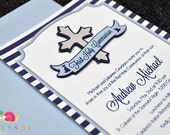 First Holy Communion Invitations · A6 FLAT · Navy and Light Blue · Silver Cross | Banner
