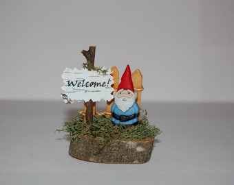 Fairy Garden Decoration - Gnome with Sign