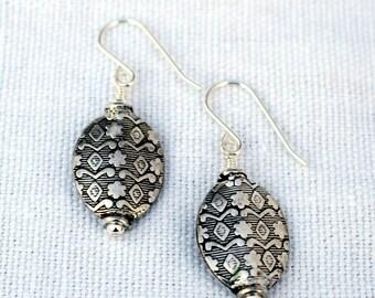 Patterned Sterling Silver Earrings