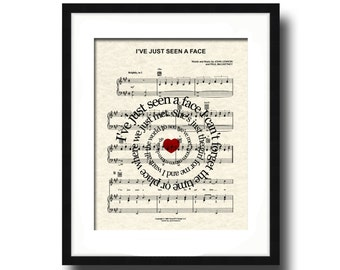 The Beatles I've Just Seen A Face Song Lyric Sheet Music Art Print, Custom Music Art, Names and Date, Spiral Lyric Art, Love Song Art