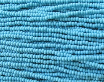 8/0 Opaque Blue Turquoise Czech Glass Seed Bead Strand (CW85) SE