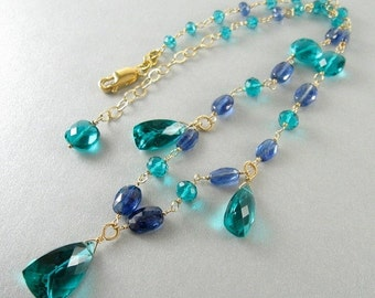 25% Off Teal Green Quartz and Kyanite Wire Wrapped Gold Filled Necklace