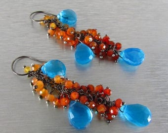25 % OFF Shaded Orange Carnelian With Turquoise Blue Quartz Cluster Dangle Earrings