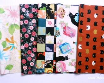 """Scrap / QUILT GATE - Kimono Print 5 pieces 26 cm x 30 cm ( 10"""" x 11.8"""" ) (884)"""