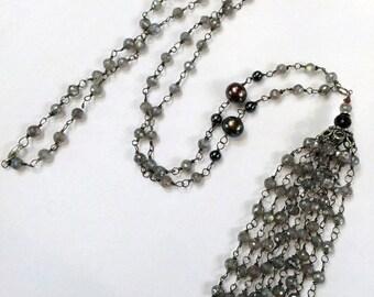50% SALE Beaded Tassel Necklace Long Gemstone Boho Statement Necklace Mystic Labradorite Wire Wrap Tassel Pearl Tassel Jewelry Bohemian Tass