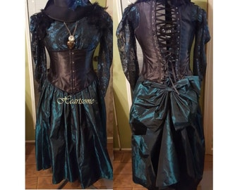 Masquerade steam punk gown dress ensemble 18 20 plus size xx lrg teal black corset saloon