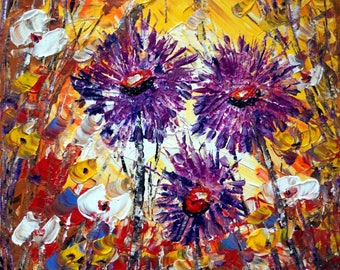 Purple Flowers Oil Painting Fall Floral Impasto Painting on Canvas Art by Luiza Vizoli