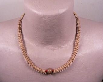 Rattlesnake Vertebra Mens or Womans Adjustable Choker / Necklace / Bone Bead / Red Glass White Heart Bead