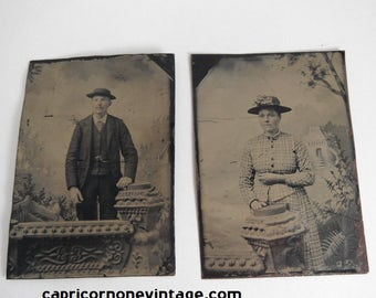 Antique Tintype Photo Set of 2 Man & Woman Antique Photographs Victorian Photographs Victorian Fashion Display or use for Crafts