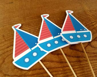 Nautical Birthday Party - Set of 12 Sailboat Cupcake Toppers by The Birthday House