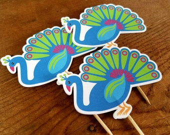 Zoo Party - Set of 12 Peacock Double Sided Cupcake Toppers by The Birthday House