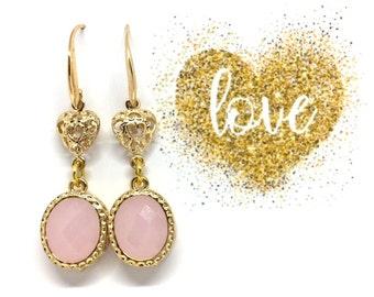 Gift Pink earrings Oval earrings Gift Pink dangle earrings Pink drop earrings Gold oval earrings Bridesmaid earrings Gift for her