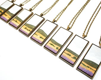 Painted Landscape Pendant - Lavender Fields of Provence - (Original Painting in Brass Setting)
