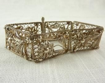 Vintage Sterling Floral Filigree Bracelet
