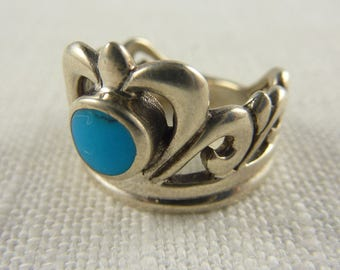 Vintage Sterling Faux Turquoise Ring Size 7