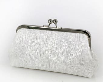 White Sequins Clutch | Bridesmaids | Bridal Clutch | Ready to Ship