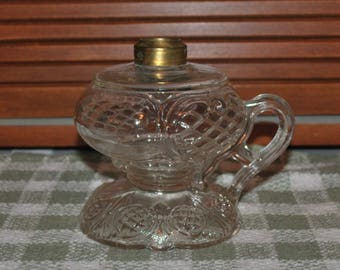 Antique Ca. 1890 EAPG Prince Edward Pattern Footed Finger or Hand Oil Lamp