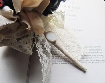 Wedding Bouquet * Vintage Fabric Flowers * OOAK Bridal Bouquets * 1940's Style Flowers * Wedding Flowers * Unique Brides * Boutonniere