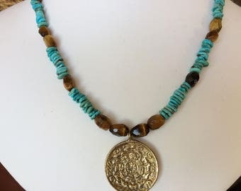 Necklace — Brass Pendant, Turquoise and Tigers Eye