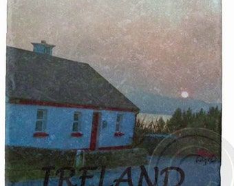 Irish Cottage Sunset, Co.Kerry ,Ireland Marble Coaster,