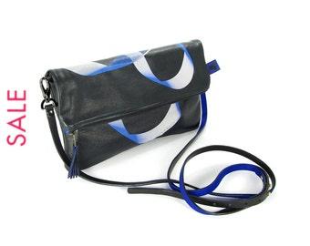 Black Leather Clutch Bag / Purse / Handbag - Möbius - SALE